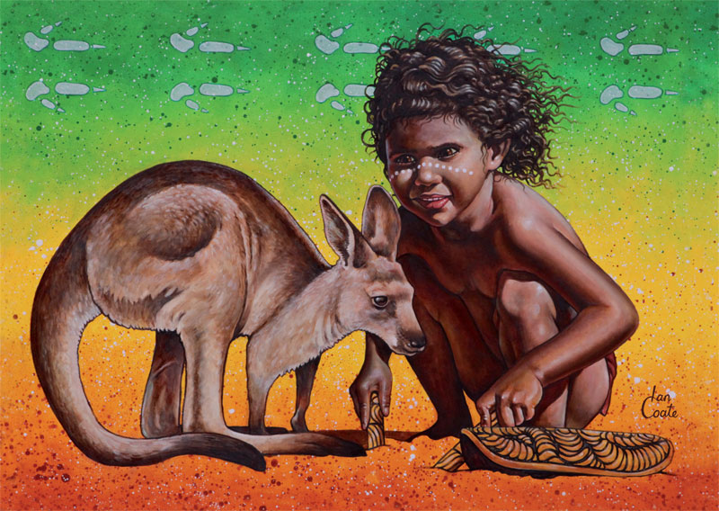Joey Kangaroo and Aboriginal Girl