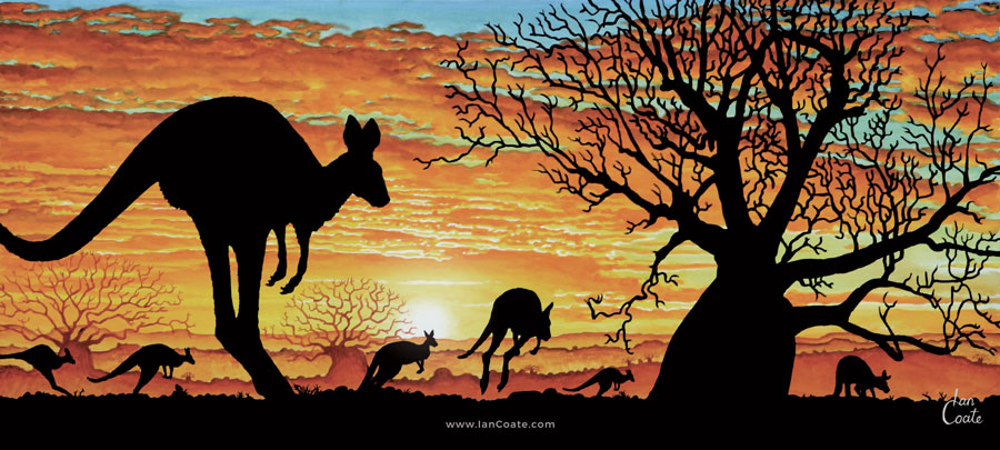Kangaroo Sunset an Australian Sunset