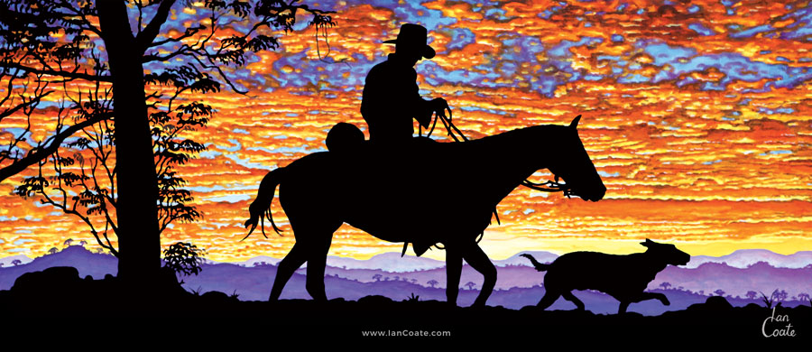 Australian Drover with horse and dog at sunset
