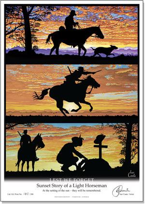 Sunset Story of a Light Horseman Print by Ian Coate