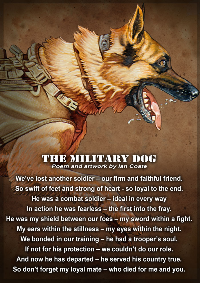 Military Working Dog Art by Ian Coate